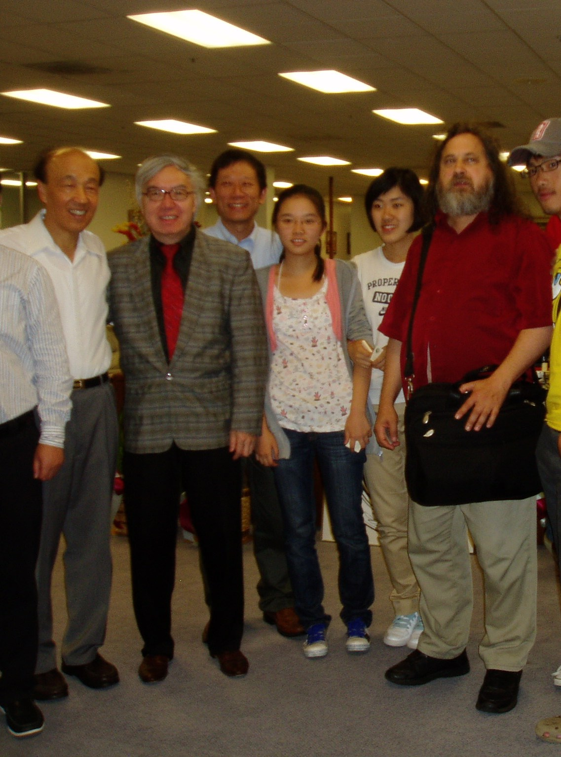 NPU picture of President of NPU, George Hsieh, Hugh Ching, Pochang Hsu, and Richard Stallman, 2010.